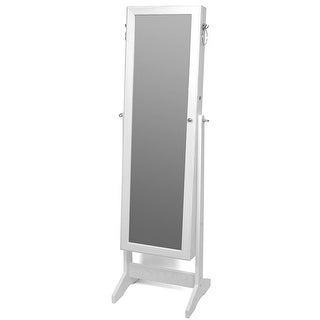 Organizer Full Length Mirrored Lockable Standing with Make Up Mirrored Organizer Storage for Rings Earrings Bracelets White