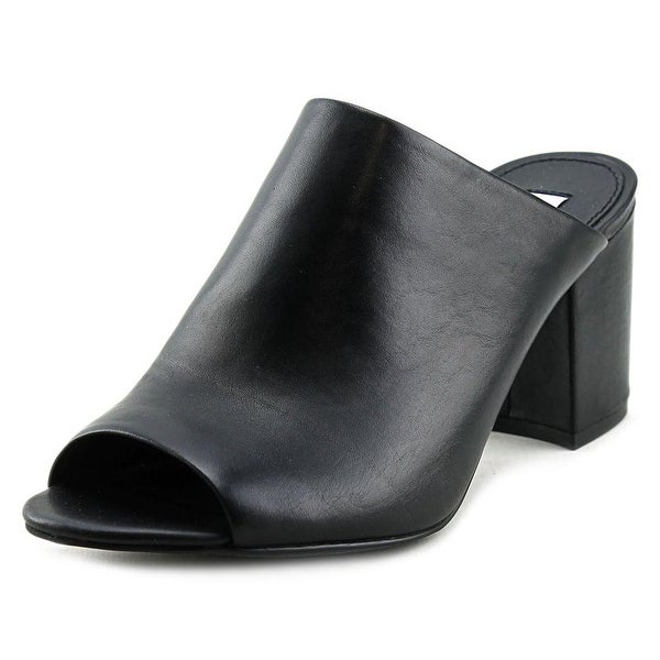 e0ea385f402 Shop Steve Madden Infinity Women Open-Toe Leather Black Mules - Free ...
