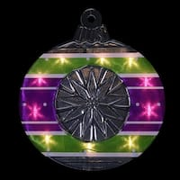 "15.5"" Lighted Shimmering Purple  Green  White & Silver Ornament Christmas Window Silhouette Decoration"