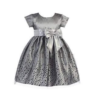 Lito Little Girls Silver Polka Dot Tulle Shiny Satin Bow Christmas Dress