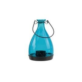 """6.25"""" Transparent Blue Glass Bottle Tea Light Candle Lantern Decoration"""