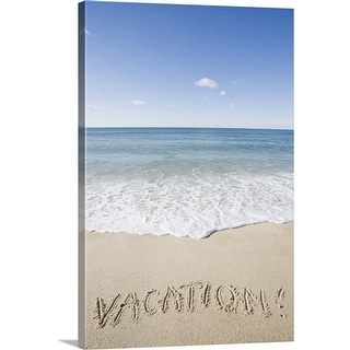 """'Vacation' written on sandy beach, Nantucket Island, Massachusetts"" Canvas Wall Art"