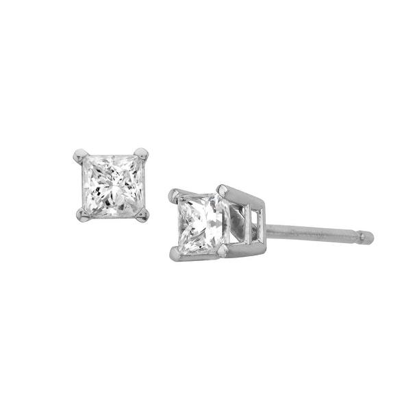 1/4 ct Princess-Cut Diamond Stud Earrings in 10K White Gold