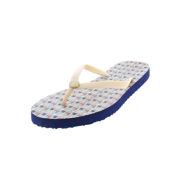 d021fa98c Tory Burch Womens Printed Thin Flip-Flop Flat Sandals Flats Pattern - 9  Medium (