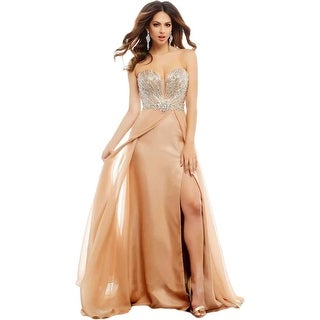 Mac Duggal Womens Chiffon Strapless Formal Dress