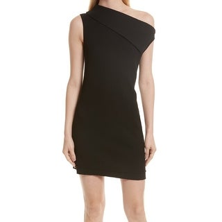 Helmut Lang Deep Black Womens Size 2 Asymmetrical Sheath Dress