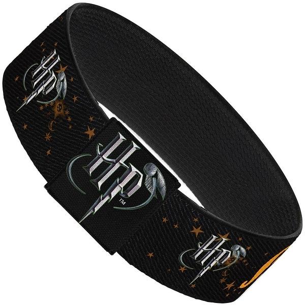 "Hp Logo Muggle Stars Black Gold Elastic Bracelet 1.0"" Wide"