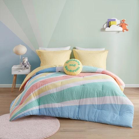 Jessie Yellow Rainbow Sunburst Reversible Cotton Comforter Set by Urban Habitat Kids
