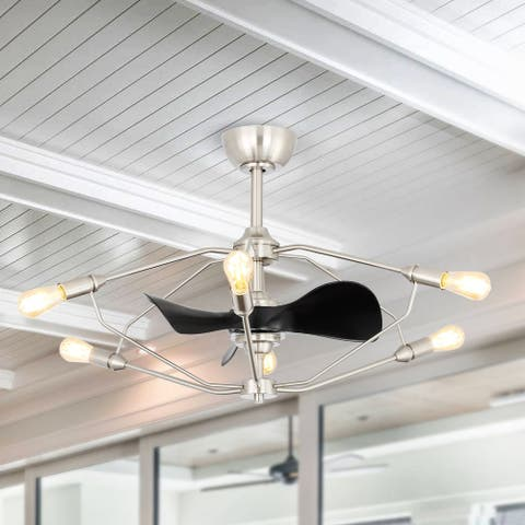 """37"""" Industrial 3 Reversible Blades Chandelier Ceiling Fan with Remote"""
