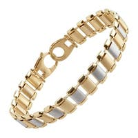 Eternity Gold Two-Tone Rectangular Link Bracelet in 14K Gold with Rhodium-Plate