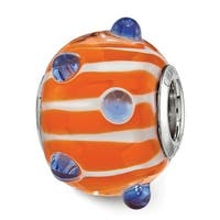 Sterling Silver Reflections Blue Polka-dot Orange and White Glass Bead (4.5mm Diameter Hole)