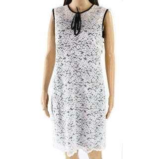 424 Fifth NEW White Womens Size 8 Floral-Lace Contrast Sheath Dress