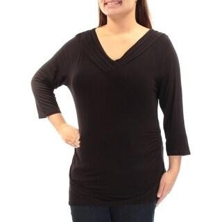 GRACE ELEMENTS $30 Womens 1407 Black V Neck 3/4 Sleeve Casual Top Juniors XL B+B