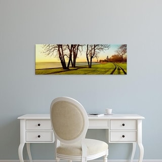 Easy Art Prints Panoramic Image 'Chicago Lakefront Trail,  Lincoln Park, Lake Michigan, Chicago, Illinois' Canvas Art