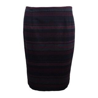 Nine West Women's Striped Pencil Skirt - bordeaux multi