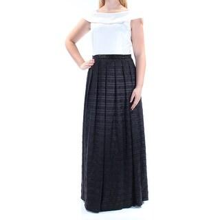 Womens Black Cap Sleeve Full Length Pleated Prom Dress Size: 10