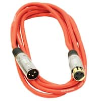 Seismic Audio Premium 10 Foot Red XLR Patch Cable Cord - 3 Pin XLRF to XLRM Mic Cord