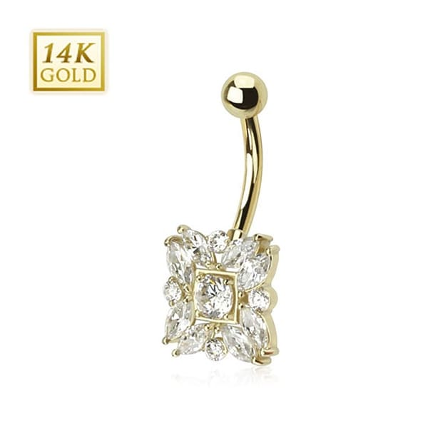 14 Karat Solid Yellow Gold Round and Marquise Cut CZs Navel Belly Button Ring