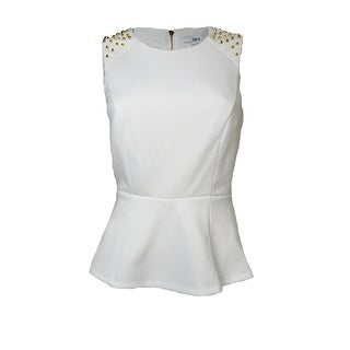 Bar III Women's Studded Sleeveless Peplum Blouse - White - 0