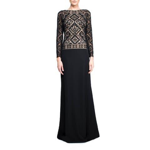 Tadashi Shoji Accra Embroidered Long Sleeve Evening Gown Dress Black/Nude