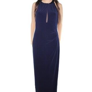Lauren By Ralph Lauren NEW Blue Womens Size 8 Mesh Rear Keyhole Gown