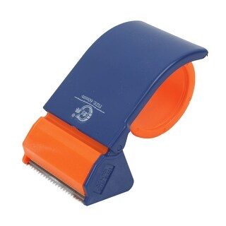 Unique Bargains Blue Orange Handheld Packing 65mm Wide Strap Tape Roll Dispenser Cutter