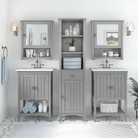 Salinas 48W Double Vanity Set with Sinks and Storage by Bush Furniture