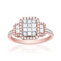 0.92ct Natural G-H/SI1 Princess & Round Diamond Enggagement Ring - White G-H