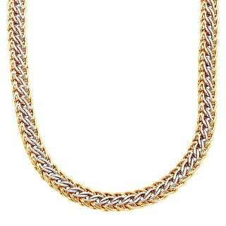 Braided Links Necklace in 14K Gold-Bonded Sterling Silver - Two-tone