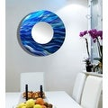 Statements2000 Blue Abstract Metal Wall Mirror Art Accent Decor by Jon Allen - Mirror 111 - Thumbnail 15