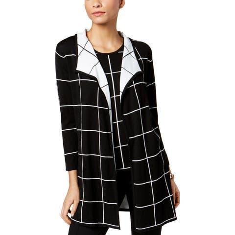 Kasper Womens Cardigan Sweater Plaid 3/4 Sleeves