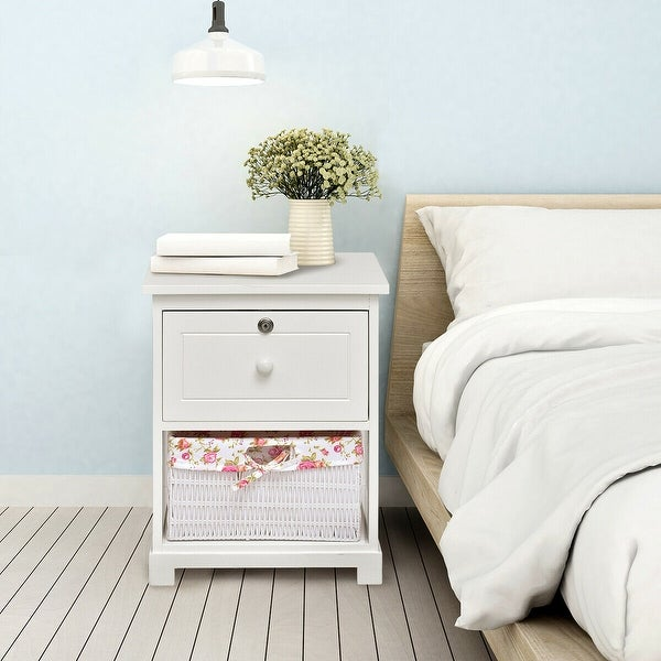 Costway 2 Tiers Wood Nightstand 1 Drawer 1 Basket Bedside End Table Organizer White