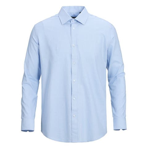 Men's Classic/Regular Fit 100% Cotton Long Sleeve Textured Dress Shirt
