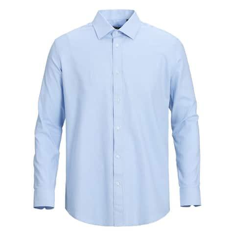 Men's Classic Fit Cotton Performance Twill Textured Dress Shirt