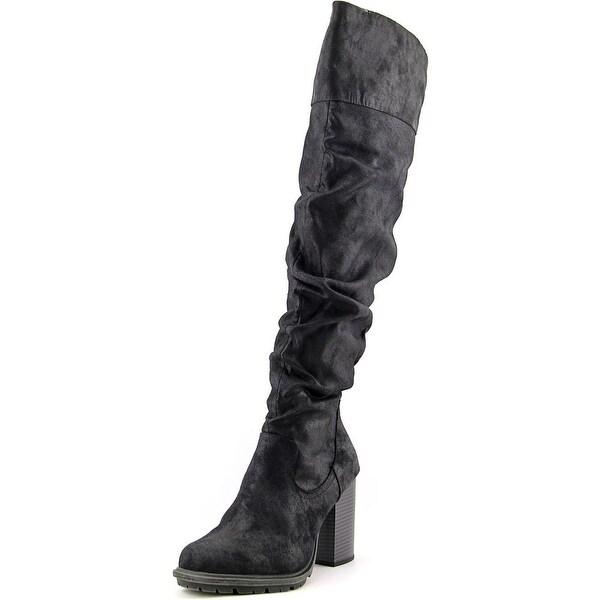 Seven Dials Senorita Women Round Toe Canvas Black Over the Knee Boot