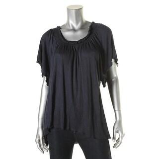 Nation Ltd. Womens Blouse Textured Smocked - l