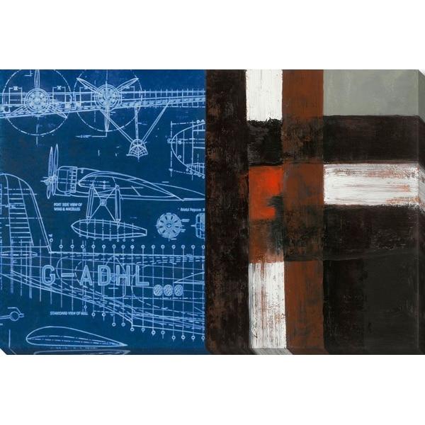 "32"" x 48"" Blue and Black Standard Plan Rectangular Canvas Wall Art Decoration - N/A"