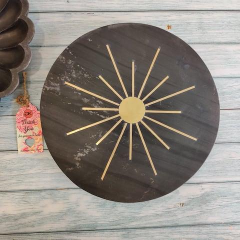 """GAURI KOHLI Rising Sun Black Stone Lazy Suzan (12"""") - 12.0"""" X 12.0"""""""