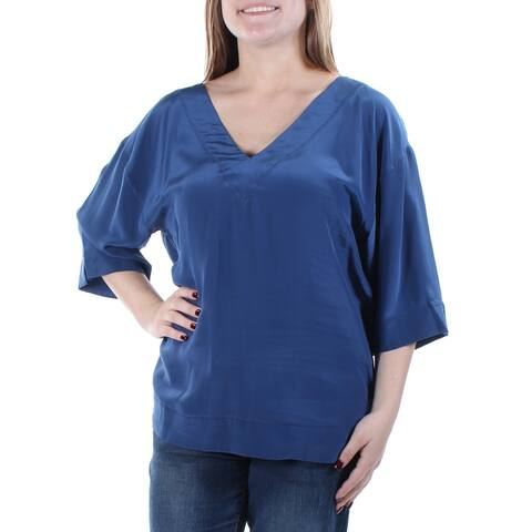 0f15577bb49581 TRINA TURK Womens Blue Cut Out Kimono Sleeve V Neck Tunic Top Size: M