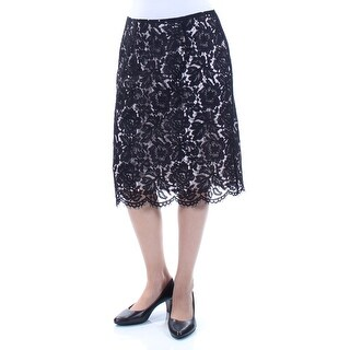 VINCE CAMUTO $99 Womens New 1255 Black Floral Lace A-Line Skirt 6 B+B