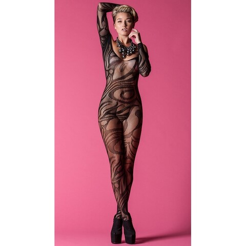 Hoty Midnight Swirl Bodystocking, Long Sleeve Sheer Bodysuits - Black - One Size Fits most