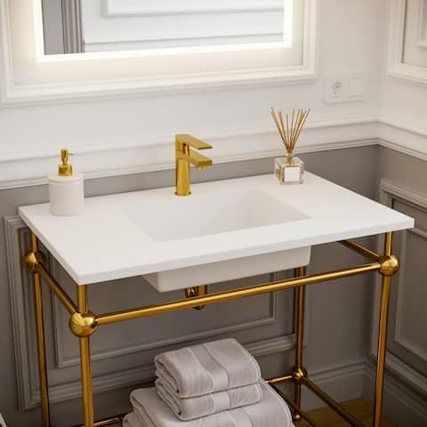 "Sharon 36"" Single Bathroom Vanity Set w/ Solid Surface Sink"