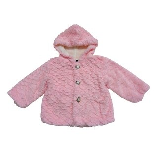 Little Girls Pink Scalloped Pattern Faux Fur Hooded Long Sleeve Jacket (3 options available)