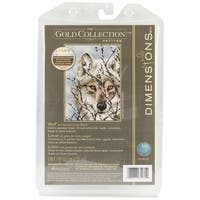 "Gold Petite Wolf Counted Cross Stitch Kit-5""X7"" 18 Count"