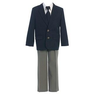 Sweet Kids Navy Gray 4pc Blazer Shirt Pants Tie Suit Set Boys 12M-2T