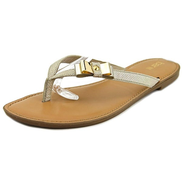 Bar III Vance Women Open Toe Canvas Gold Flip Flop Sandal