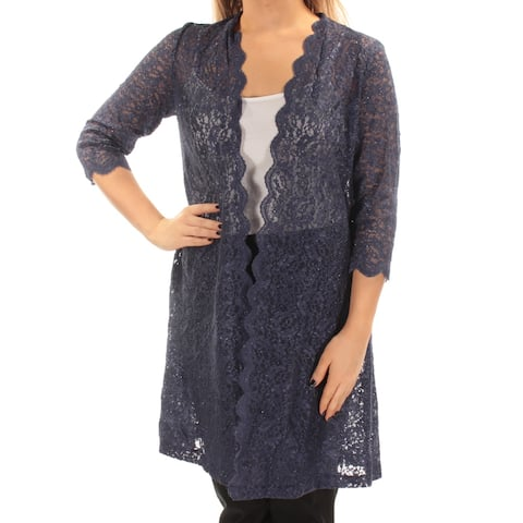 ALEX EVENINGS Womens Navy Glitter Lace 3/4 Sleeve Open Cardigan Evening Top Petites Size: 10