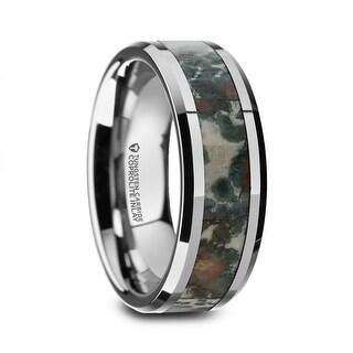 Thorsten Tungsten Carbide Beveled Men's Wedding Band with Coprolite Fossil Inlay - 8mm CRETACEOUS