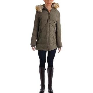 DKNY Womens Down Faux Fur Parka - M