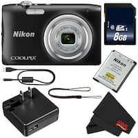 Nikon Coolpix A100 Digital Camera (Black) + 8GB SDHC Card Bundle (Intl Model)